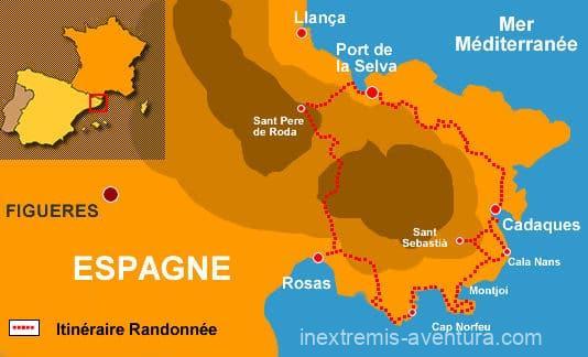 Itinéraire sur carte Cadaquès Tour du Cap de Creus - Costa Brava - Espagne