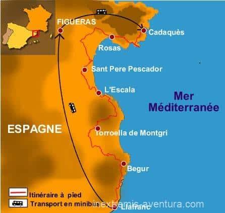 itinéraire sur carte Randonnée Cadaqués Llafranc - Costa Brava - Espagne