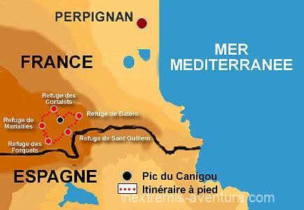 Itinéraire sur carte Randonnée Tour du Canigó - Massif du canigou - Pyrénées Orientales