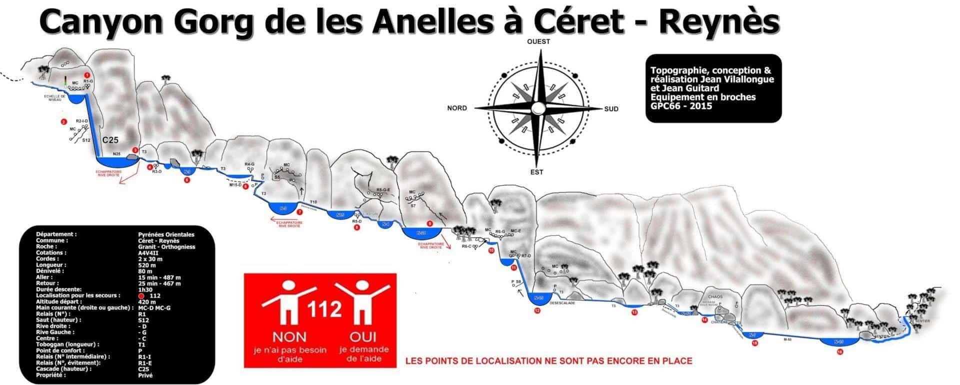 Topographie Canyon Gourg des Anelles - Céret - Pyrénées Orientales