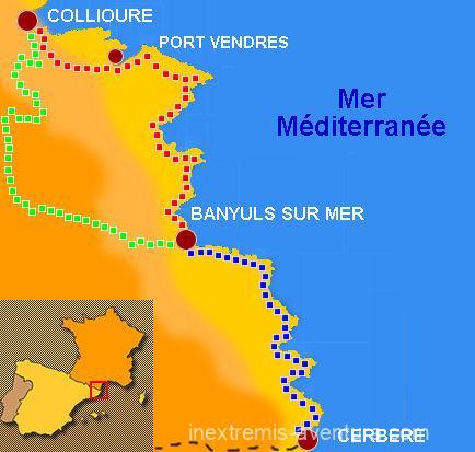 Carte Rando autour de Collioure et le sentier du littoral